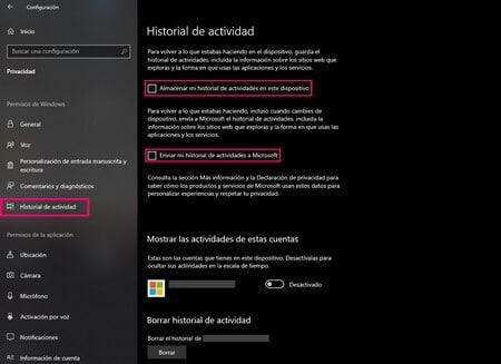 Historial actividad Windows 10